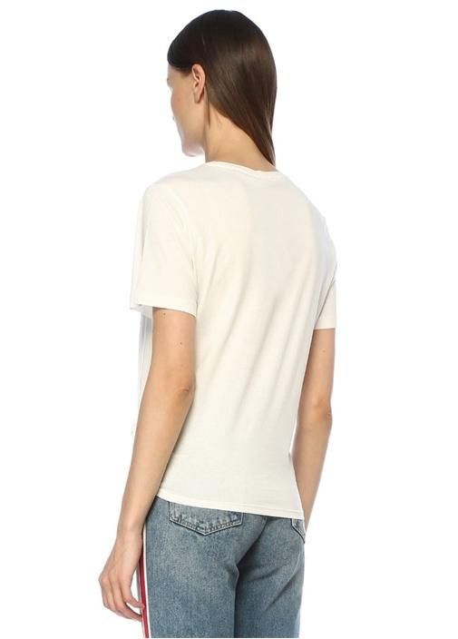 Beyaz Taşlı Baskılı Önü Bağcıklı T-shirt