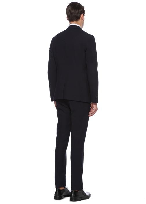 Drop 6 Lacivert Mikro Kare Dokulu Yün Takım Elbise