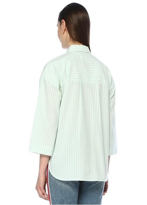 Yeşil İngiliz Yaka Çizgili Poplin Gömlek