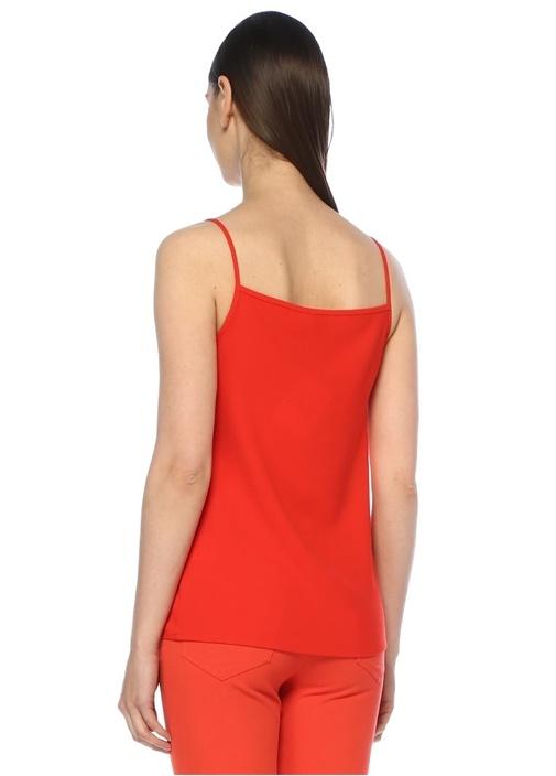 Kırmızı V Yaka İnce Askılı Bloklu Kolsuz Krep Bluz