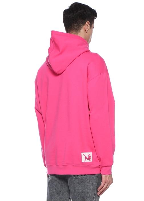 Pembe Kapüşonlu Patch Detaylı Sweatshirt