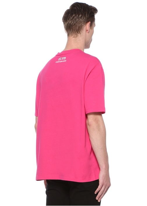 Fuşya Bisiklet Yaka Icon Baskılı Basic T-shirt