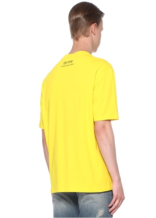 Sarı Baskılı Bisiklet Yaka Basic T-shirt