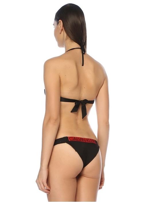 Kırmızı Siyah Logo Bantlı Bağcıklı Bikini Üstü
