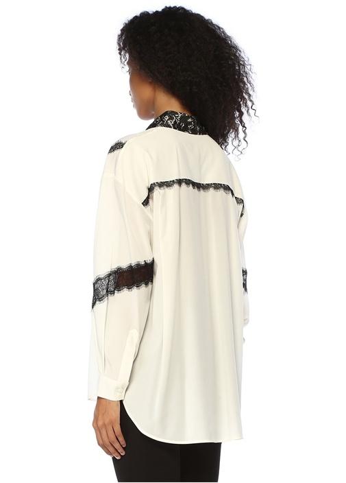 Siyah Beyaz Dantel Garnili İpek Tunik