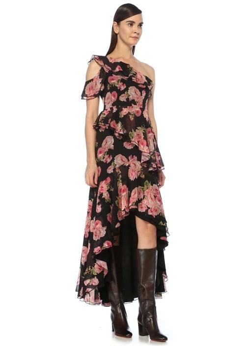 Siyah Gül Desenli Asimetrik Volanlı Maksi Elbise