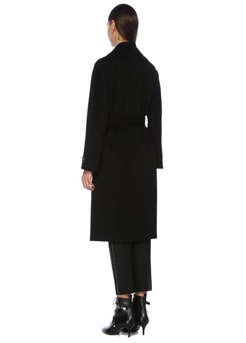 Siyah Beli Kuşaklı Klasik Kruvaze Yün Palto