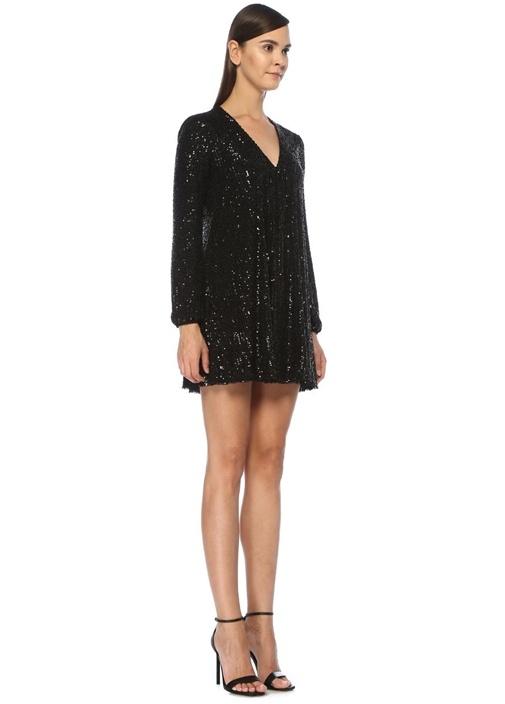 Siyah V Yaka İşlemeli Uzun Kol Mini Elbise
