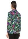 Çiçekli Arkası Büzgülü Pile Detaylı Krep Gömlek