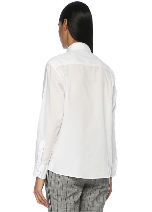Beyaz Boyfriend Yıkamalı Oxford Gömlek