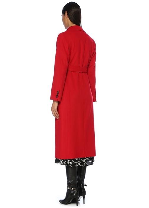 Kırmızı Kelebek Yaka Beli Kuşaklı Yün Palto