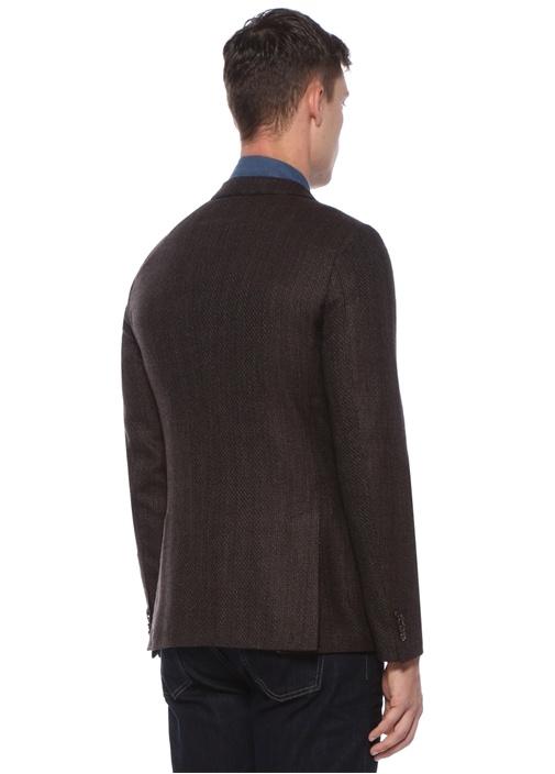 Drop 8 Kahverengi Kazayağı Desenli Yün Soft Ceket
