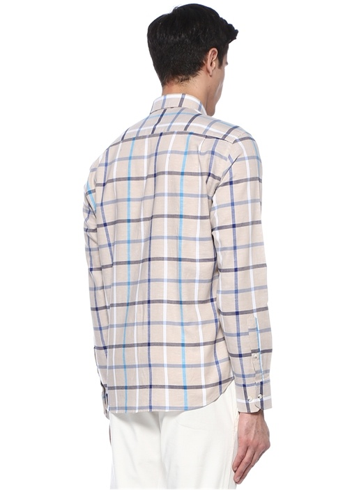 Comfort Fit Bej Düğmeli Yaka Ekoseli Gömlek