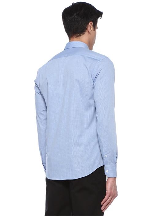 Slim Fit Mavi Pötikareli Gömlek