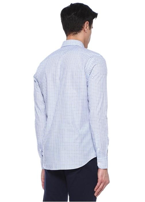 Slim Fit Mavi Beyaz Kareli Gömlek