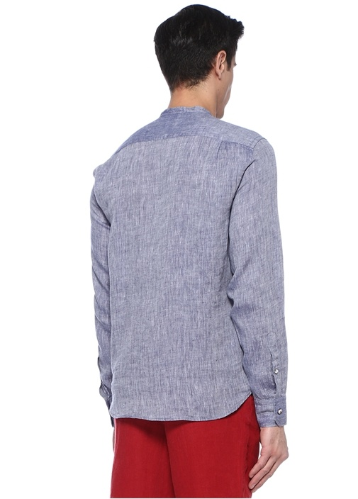 Comfort Fit Mavi Hakim Yaka Keten Gömlek