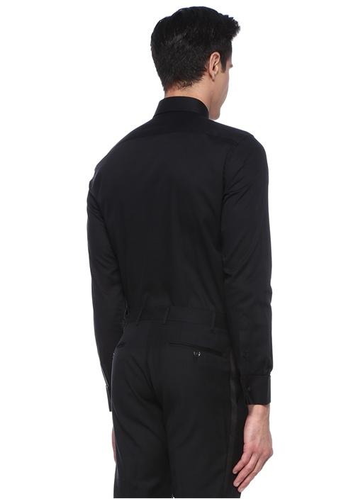 Siyah İtalyan Yaka Nervürlü Smokin Gömleği