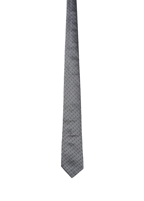 Gri Mikro Desenli İpek Kravat
