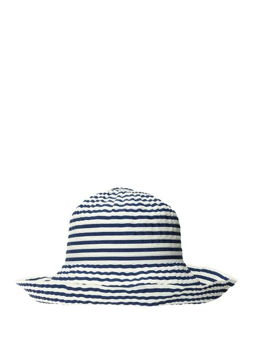 Lacivert Beyaz Çizgi Dokulu Erkek Şapka