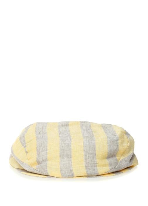 Sarı Bej Çizgili Erkek Keten Şapka