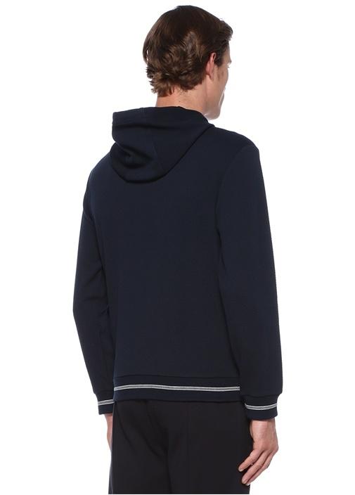 Lacivert Kapüşonlu Dokulu Travel Sweatshirt
