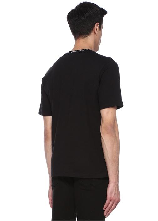 Obsessed Siyah Yakası Jakarlı Basic T-shirt