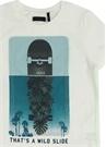 Beyaz Baskılı File Detaylı Erkek Çocuk T-shirt