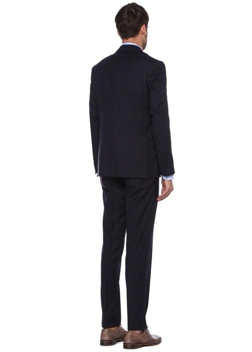 Drop 7 Lacivert Çizgili Yün Soft Takım Elbise
