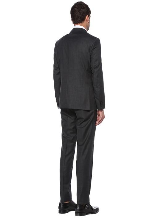 Drop 7 Antrasit Dokulu Yün Soft Takım Elbise