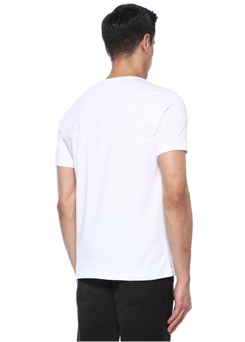Beyaz Bisiklet Yaka Tekne Baskılı BasicT-shirt