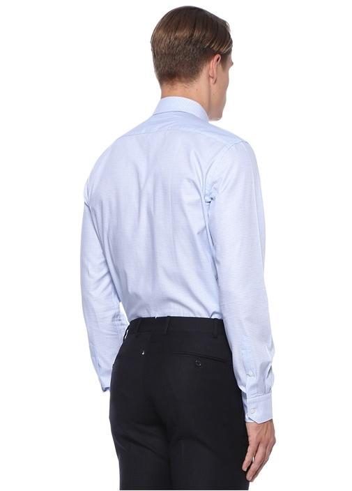 Custom Fit Mavi Mikro Kazayağı Desenli Gömlek