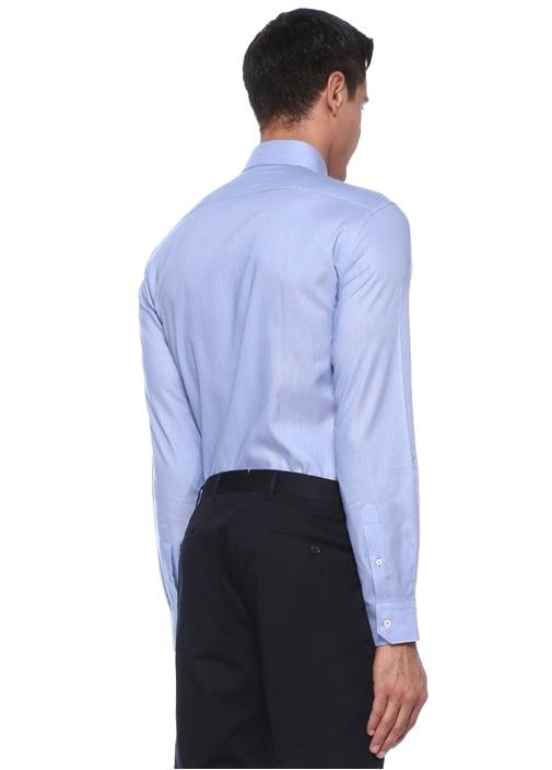 Custom Fit Yarı İtalyan Yaka Çizgi Desenli Gömlek