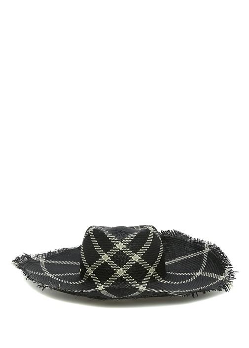 Siyah Desenli Hasır Dokulu Kadın Şapka