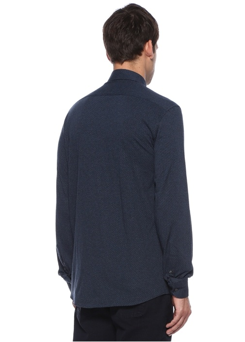 Custom Fit Lacivert Alttan Britli Yaka Gömlek