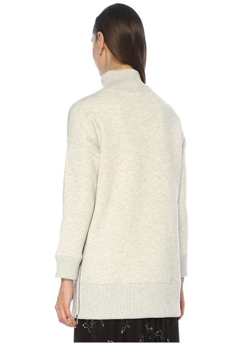 Gri Dik Yaka Yanı Fermuarlı Tunik Sweatshirt