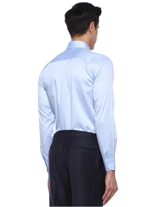 Comfort Fit Mavi İngiliz Yaka Stretch Gömlek