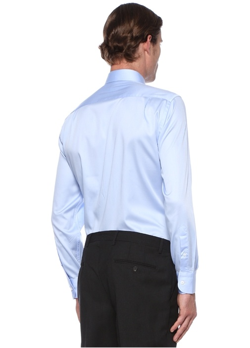 Comfort Fit Mavi Modern Yaka Saten Stretch Gömlek