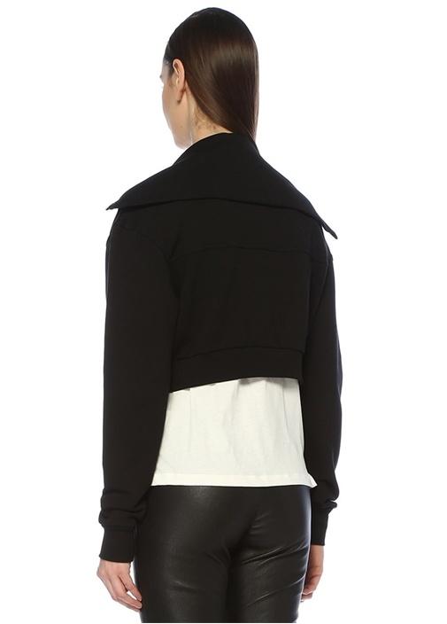 Raya Siyah Şal Yaka Fermuarlı Crop Sweatshirt
