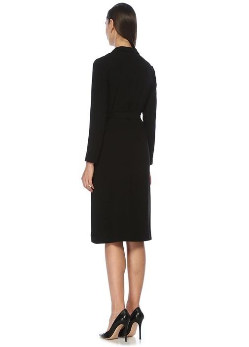 Siyah Kuşaklı Uzun Kol Midi Krep Anvelop Elbise