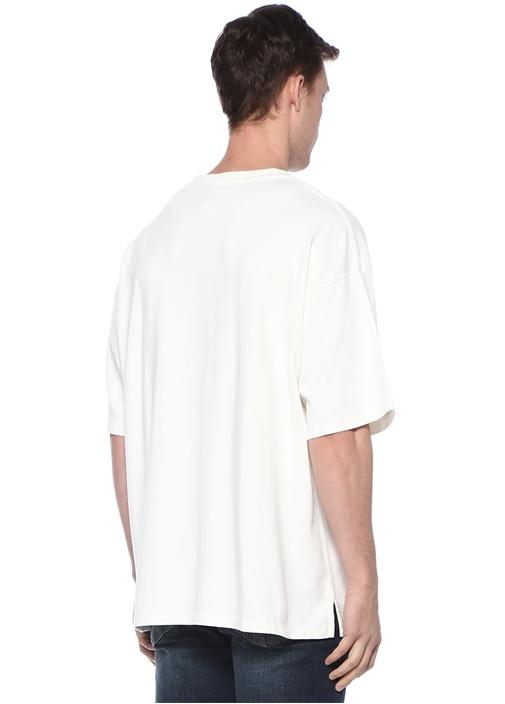 Salvi Beyaz Bisiklet Yaka Oversized T-shirt