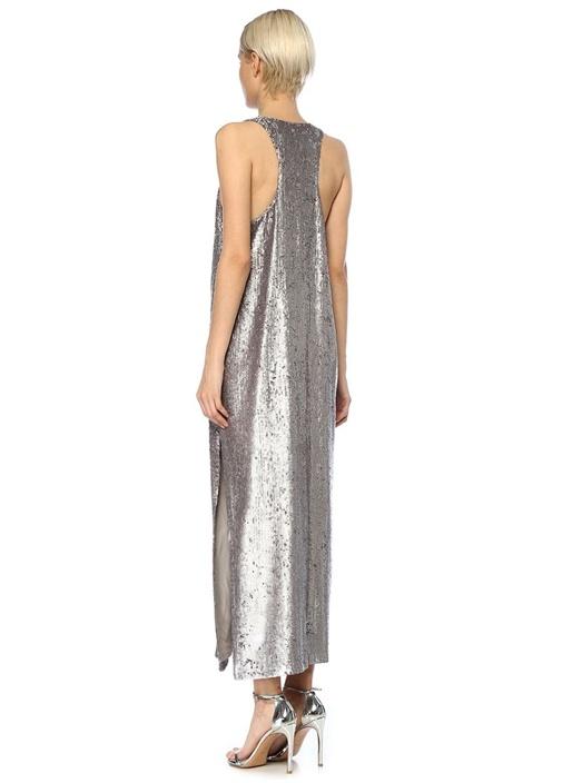 Silver U Yaka İşlemeli Maksi Abiye Elbise