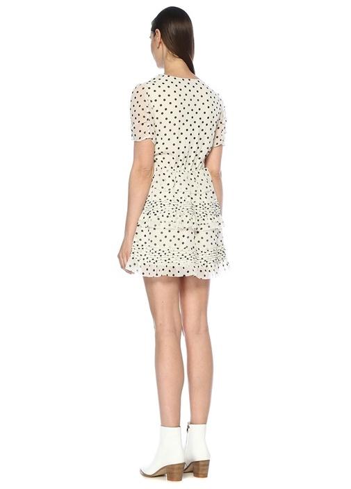 Ilia Beyaz V Yaka Puantiyeli Mini Anvelop Elbise