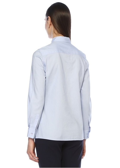 Mavi Düğmeli Yaka Yıkamalı Oxford Gömlek
