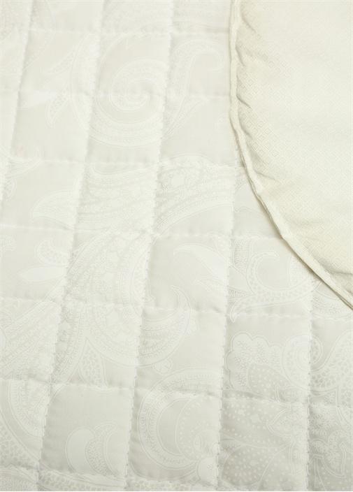 Beyaz Desenli Kapitoneli 270x270 cm Yatak Örtüsü