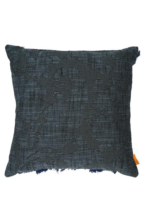 Lacivert Makrome Detaylı 45x45 cm Dekoratif Yastık
