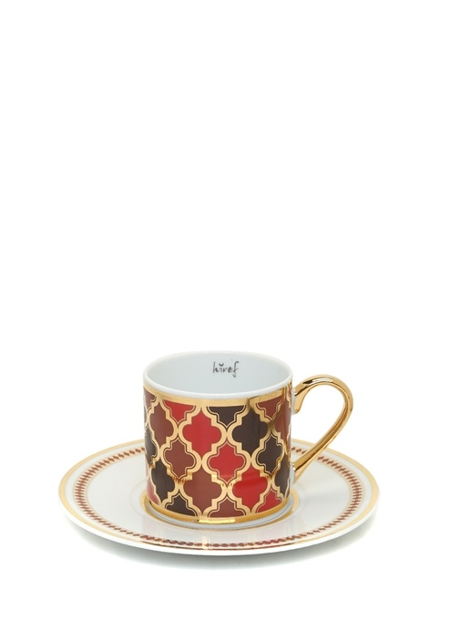 Kaftan Kırmızı Yaldızlı Kahve Fincan Seti