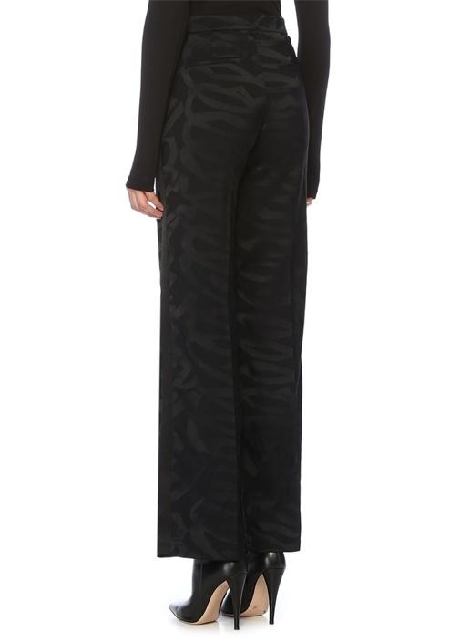 Siyah Jakarlı Boru Paça Pantolon