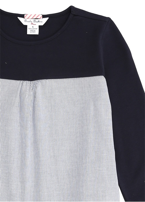 Lacivert Çizgili Garnili Unisex Çocuk T-shirt