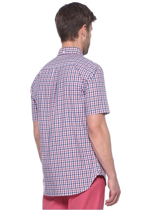 Kırmızı Beyaz Kareli Düğmeli Yaka Gömlek