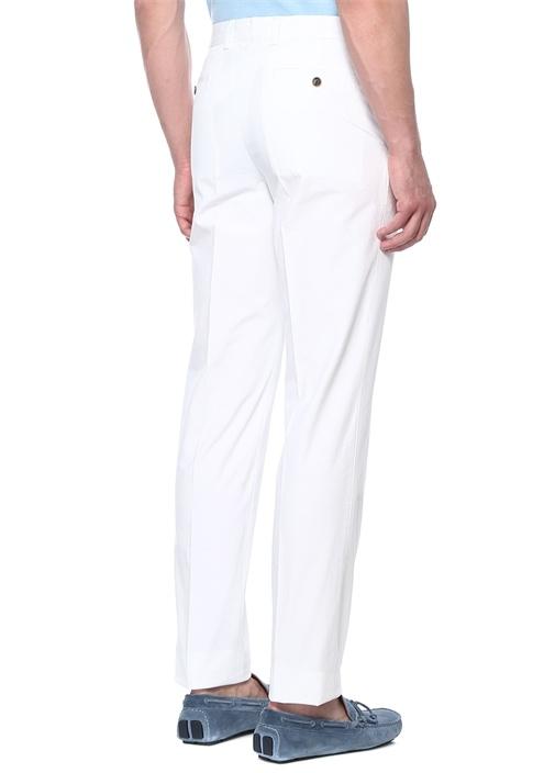 Beyaz Boru Paça Kanvas Pantolon